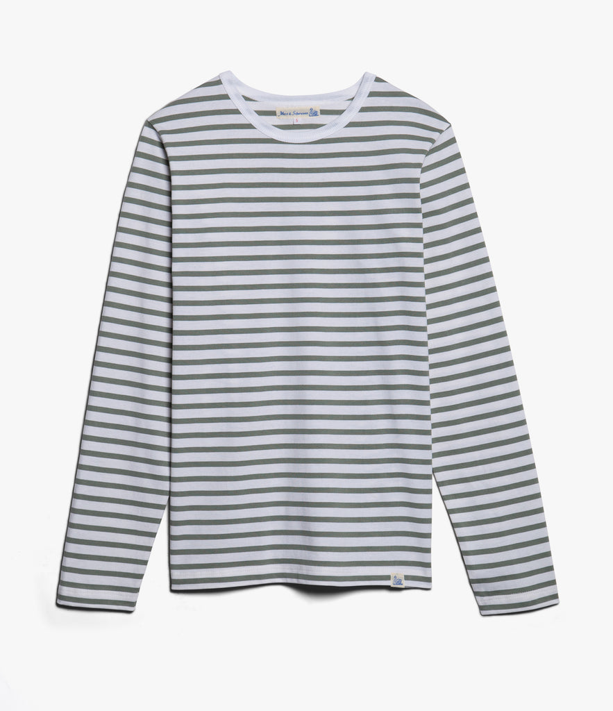 Men's<br/>2M12 striped crew neck long sleeve<br/>white-light army