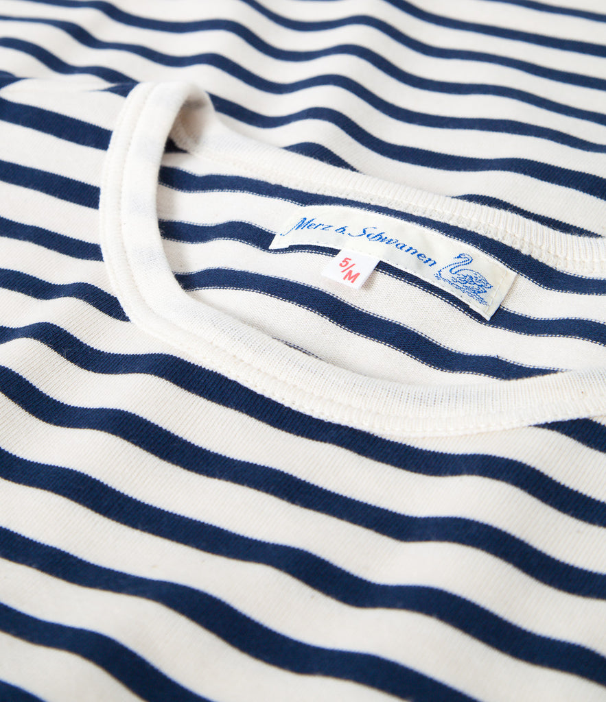 Men's<br/>2M12 striped crew neck long sleeve<br/>ink blue-nature