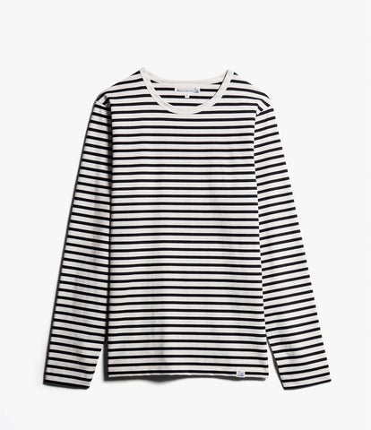 Men's<br/>2M12 striped crew neck long sleeve<br/>deep black-nature