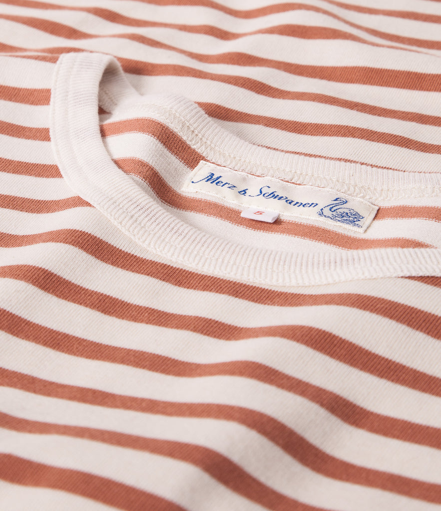 Men's<br/>2M12 striped crew neck long sleeve<br/>nature-light rust