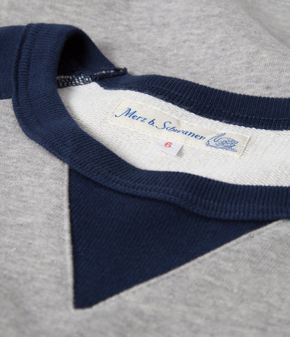 342T crew-neck raglan contrast sweatshirt long slv.<br/>grey mel.-ink blue
