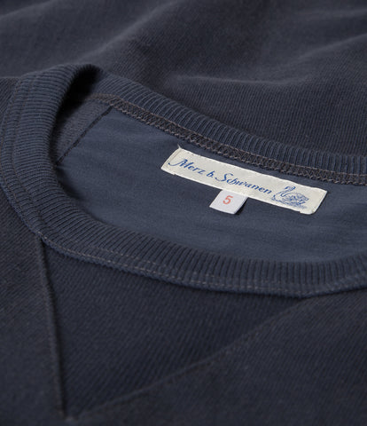 Men's<br/> 3H48 hemp-cotton crew-neck sweatshirt heavy<br/> navy