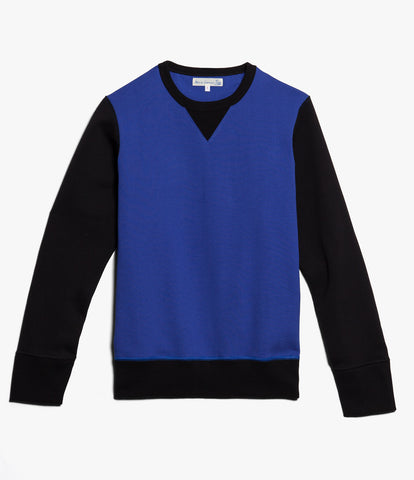Men's<br/>3S48 crew-neck sweatshirt heavy<br/>deep black-electric blue