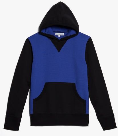 3S82 hooded sweater heavy<br/>deep black-electric blue