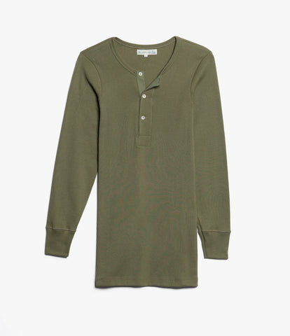 506 Strickflausch henley long sleeve<br/>army