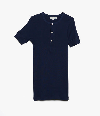 507 Strickflausch henley short sleeve<br/>ink blue