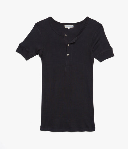507 Strickflausch henley short sleeve<br/>charcoal