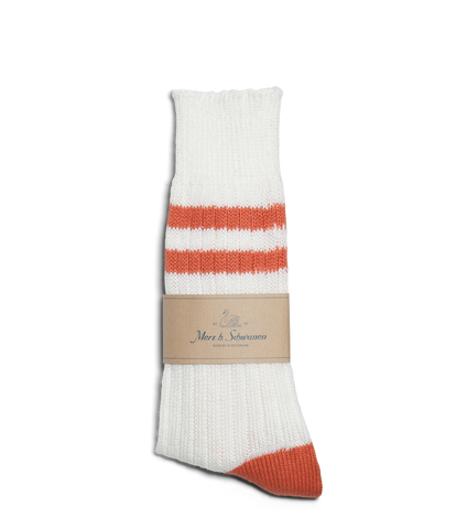 Unisex <br/>B75 bamboo socks striped <br/>white-light rust