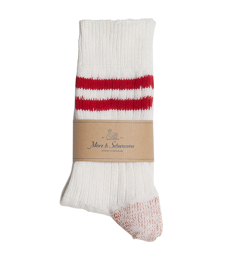 B75 bamboo socks striped<br/>white-red