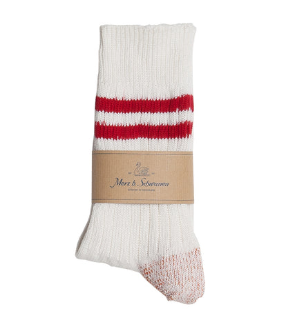 Unisex <br/>B75 bamboo socks striped <br/>white-red
