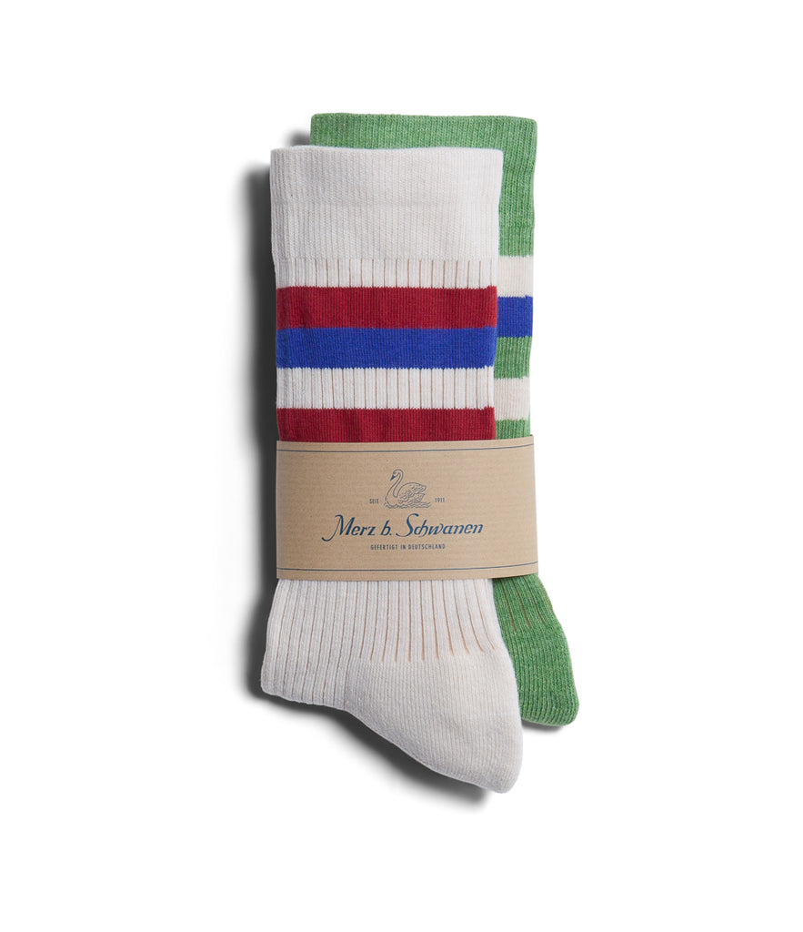 Unisex <br/>C711D cotton-lycra socks bundle<br/>white-green