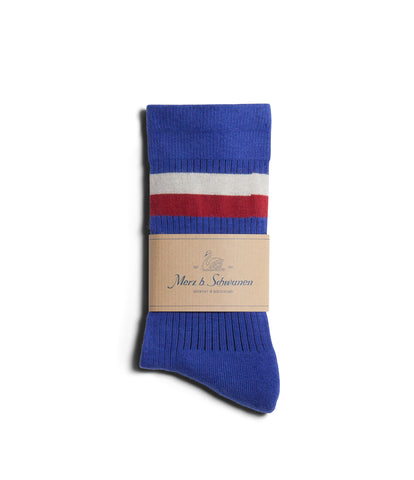 Unisex <br/>C711 cotton-lycra socks striped<br/>electric blue