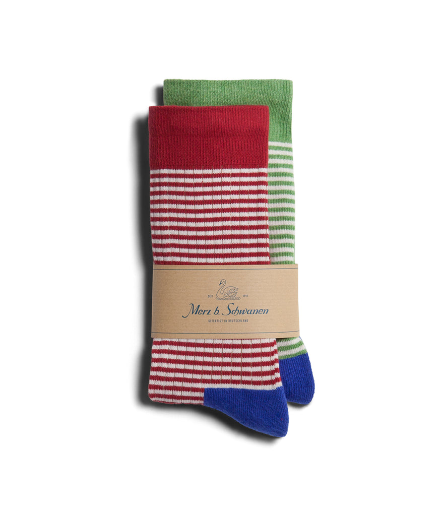 Unisex <br/>C78D cotton-lycra socks bundle<br/>red-green