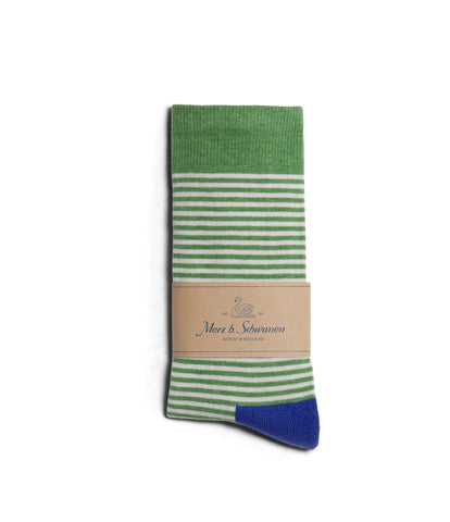 Unisex <br/>C78 cotton-lycra socks striped<br/>white-green