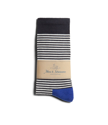 Unisex <br/>C78 cotton-lycra socks striped<br/>white-deep black