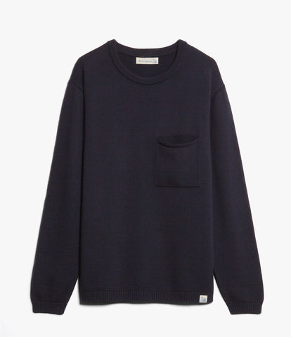 Unisex <br/>MW.RCP merino wool relaxed crew pullover pocket <br/>dark navy
