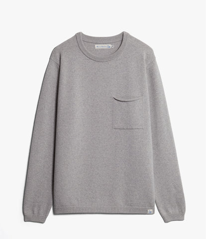 Unisex <br/>MW.RCP merino wool relaxed crew pullover pocket <br/>grey mel.