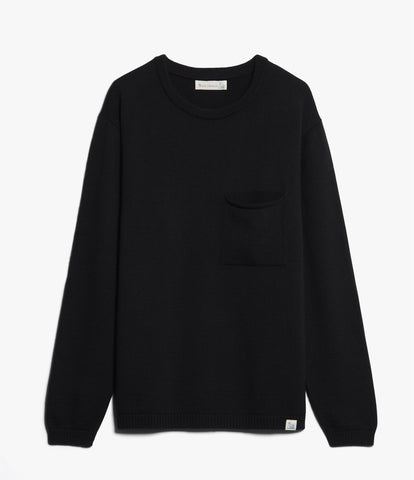 Unisex <br/>MW.RCP merino wool relaxed crew pullover pocket <br/>deep black