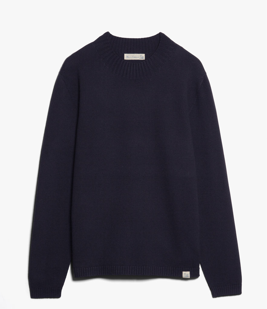 Unisex <br/>MW.RM merino wool relaxed mock-neck pullover <br/>dark navy