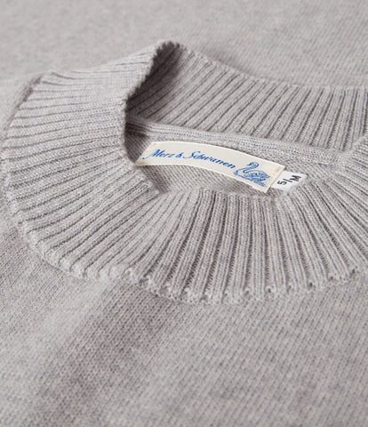 Unisex <br/>MW.RM merino wool relaxed mock-neck pullover <br/>grey mel.