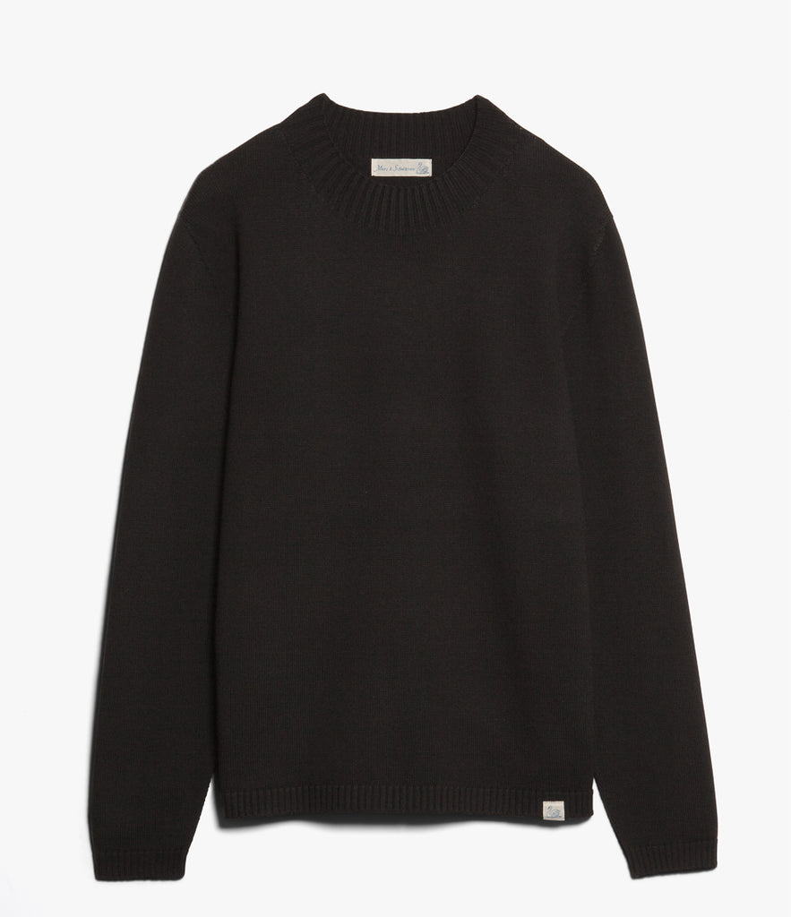 Unisex <br/>MW.RM merino wool relaxed mock-neck pullover <br/>deep black