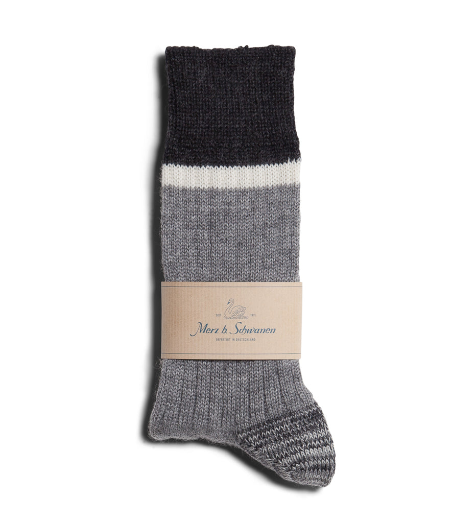 Unisex <br/>S73 new wool socks striped <br/>grey mel.-nature