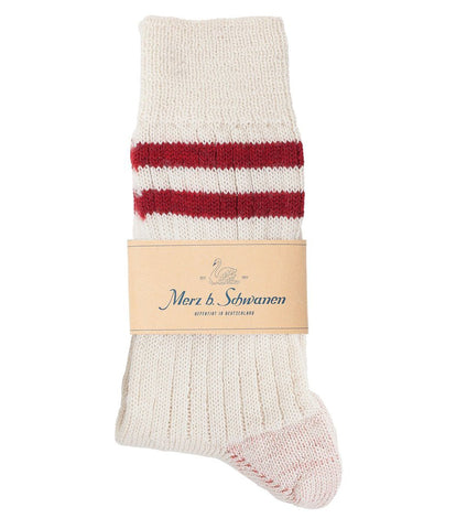 Unisex <br/>S75 new wool socks striped <br/>nature-dark red