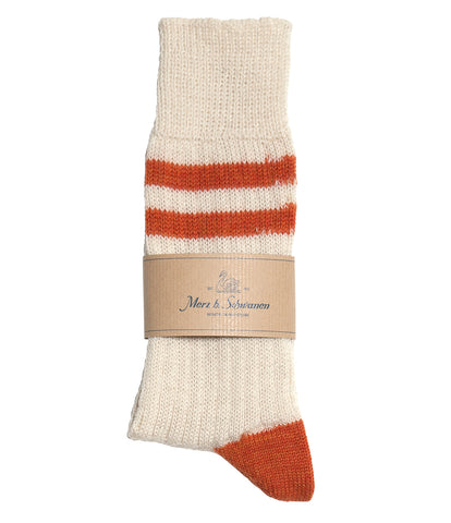 Unisex <br/>S75 new wool socks striped <br/>nature-rust