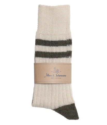 Unisex <br/>S75 new wool socks striped <br/>nature army