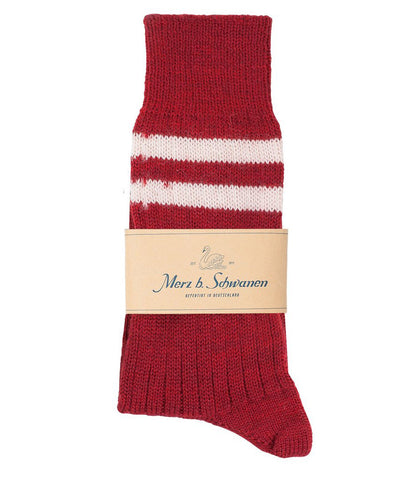Unisex <br/>S75 new wool socks striped <br/>dark red nature