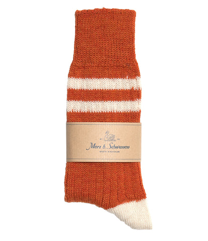 Unisex <br/>S75 new wool socks striped <br/>rust nature