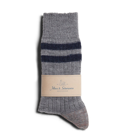 Unisex <br/>S75 new wool socks striped <br/>grey mel.-ink blue