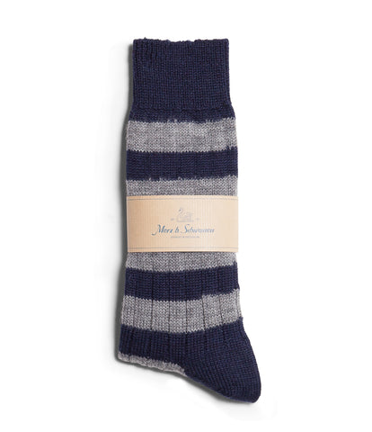 Unisex <br/>S76 new wool socks striped <br/>ink blue-grey mel.