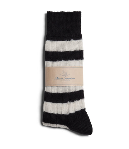 Unisex <br/>S76 new wool socks striped <br/>deep black-nature