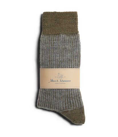 Unisex <br/>S77 new wool socks striped <br/>army-grey mel.