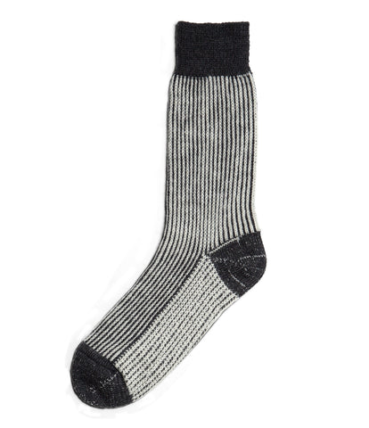 Unisex <br/>S77 new wool socks striped <br/>deep black-nature