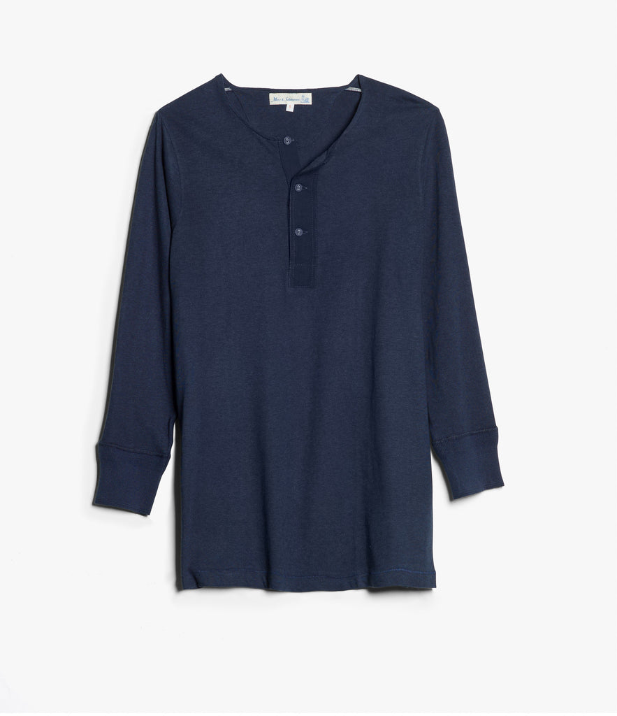 101 button border shirt 7/8 sleeve<br/>ink blue