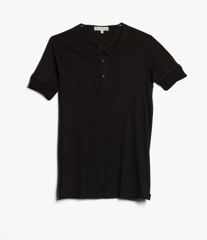 103 henley short sleeve<br/>deep black