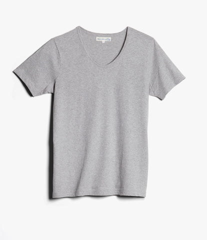 Men's <br/>1970's v-neck tee <br/>grey mel.