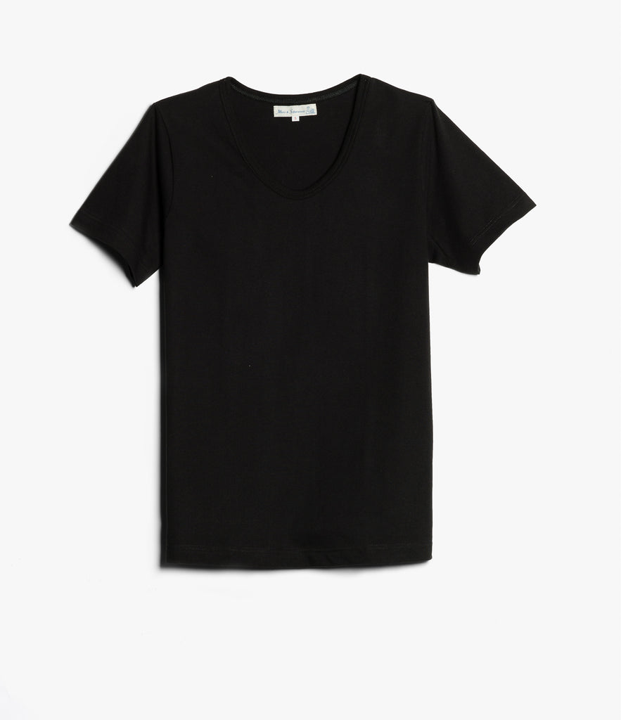1970's v-neck tee<br/>deep black