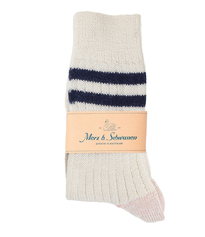 Unisex <br/>S75 new wool socks striped <br/>nature-ink