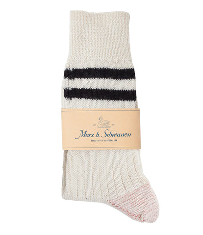 Unisex <br/>S75 new wool socks striped <br/>nature-charcoal