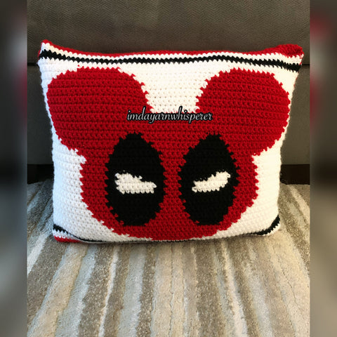 Deadpool/Mickey Mouse-Inspired Throw Pillow