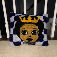 Brown Boy Prince Throw Pillow Pattern (Checkered Version)