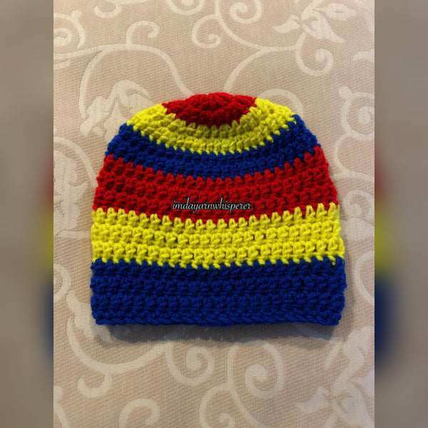 Cherry Red/Bright Yellow/Royal Blue Striped Adult Beanie (Unisex)