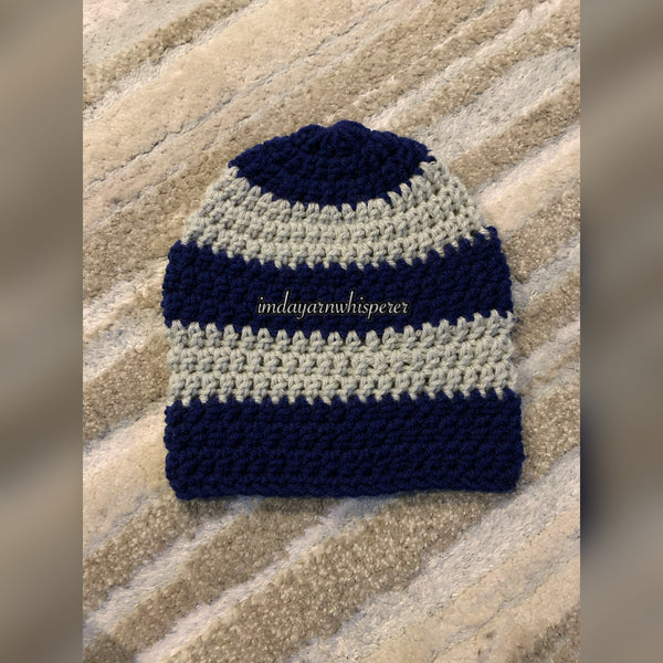 Light Grey/Navy Blue Striped Adult Beanie (Unisex)