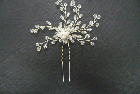 Hair pin, crystal, silver - in stock