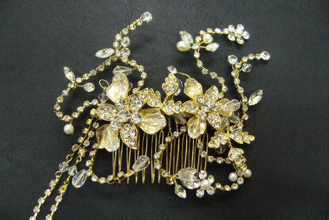 Hair comb, crystal, pearls - in stock