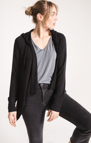 PALERMO DRAPED HOODED CARDIGAN
