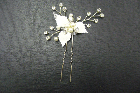 Hairpin, crystal, silver - in stock